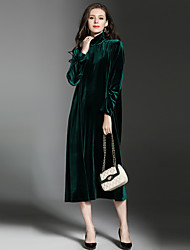 cheap -Maxlindy Women's Party Going out Daily Sexy Vintage Sophisticated Loose DressSolid Turtleneck Midi Long Sleeves Polyester Velvet Fall