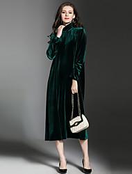 Largo Vestito Da donna-Feste Per uscire Casual Sensuale Vintage Sofisticato Tinta unita A collo alto Medio Manica lunga Poliestere Velluto