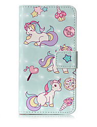 For iPhone X iPhone 8 Case Cover Wallet Card Holder with Stand Flip Pattern Full Body Case Unicorn Hard PU Leather for Apple iPhone X