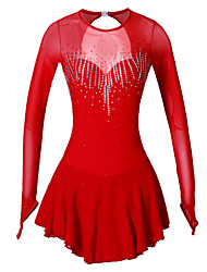 Robe de Patinage Artistique Femme Fille Patinage Robes Rouge Spandex Strass Haute élasticité Utilisation Tenue de Patinage Fait à la main