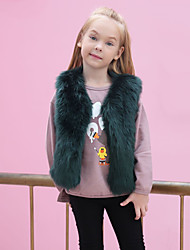 Girls' Solid Jacket & Coat,Wool Rabbit Fur Raccoon Fur Winter Fall Sleeveless Green White Black Blushing Pink