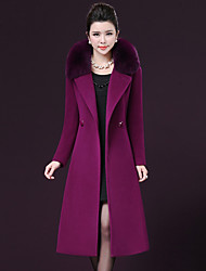 cheap -Women's Party Plus Size Simple Casual Winter Spring Coat,Solid Peter Pan Collar Long Sleeve Long Polyester Raccoon Fur
