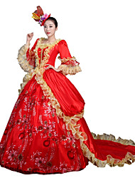 cheap -Victorian Rococo Female Adults' Party Costume Masquerade Red Cosplay Lace Satin Chiffon Long Sleeves Court Train