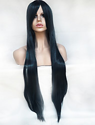 cheap -Synthetic Wig Straight Asymmetrical Haircut / With Bangs Synthetic Hair Natural Hairline Black Wig Women's Long Capless