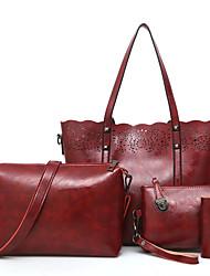 economico -Per donna Sacchetti PU (Poliuretano) sacchetto regola Set di borsa da 4 pezzi Cerniera per Casual Per tutte le stagioni Nero Rosso scuro
