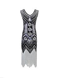 cheap -Latin Dance Dresses Women's Performance Polyester Paillette Tassel Sleeveless Natural Dress