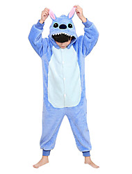 cheap -Kigurumi Pajamas Blue Monster / Monster Onesie Pajamas Costume Flannel Toison Blue Cosplay For Kid's Animal Sleepwear Cartoon Halloween