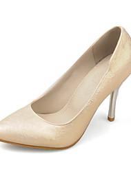 Feminino Sapatos Courino Primavera Outono Plataforma Básica Saltos Salto Agulha Dedo Apontado Para Social Dourado Branco Rosa claro