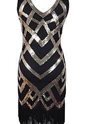 Gaine Robe Femme Sortie Imprimé Col en V Mi-long Sans Manches Polyester Automne Taille Normale Micro-élastique Opaque