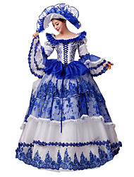 Rococo Victorian Costume Women's Party Costume Masquerade Blue Vintage Cosplay Lace Silk Organza Linen Satin Long Sleeves