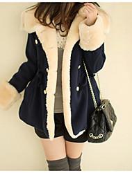 cheap -Women's Basic Plus Size Fur Coat-Color Block