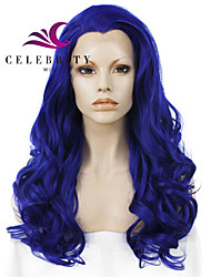 cheap -Synthetic Lace Front Wig Wavy Synthetic Hair Natural Hairline / Middle Part Blue Wig Women's Long Lace Front Wig