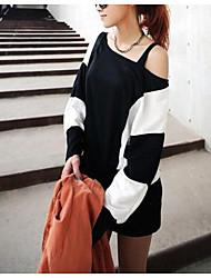 Courte Robe Femme Décontracté / Quotidien Couleur Pleine Epaules Dénudées Mini Manches Longues Polyester Automne Taille Normale