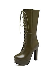 Women's Shoes Leatherette Winter Novelty Fashion Boots Boots Stiletto Heel Round Toe Mid-Calf Boots Lace-up For Wedding Party & Evening
