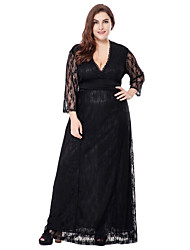 cheap -Women's Plus Size Sophisticated A Line Lace Swing Dress - Solid Colored Jacquard Black, Lace Cut Out High Rise Maxi V Neck