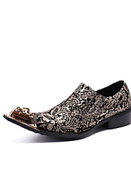 Men's Shoes Nappa Leather Spring Fall Formal Shoes Comfort Novelty Loafers & Slip-Ons Rivet For Wedding Party & Evening Gold