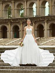 cheap -A-Line Strapless Asymmetrical Satin Wedding Dress with Button Side Draping by LAN TING BRIDE®