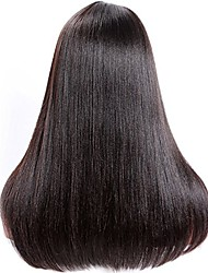 cheap -Women Human Hair Lace Wig Brazilian Remy Glueless Lace Front 180% 150% 130% Density With Baby Hair Straight Yaki Wig Medium Brown Dark