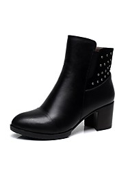 Women's Shoes Fur Winter Fashion Boots Boots Chunky Heel Round Toe Booties/Ankle Boots Zipper For Outdoor Office & Career Black