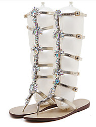 cheap -Women's Shoes PU Summer Fall Comfort Novelty Sandals Flat Heel Open Toe Crystal Rivet Sparkling Glitter For Wedding Party & Evening Gold