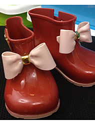 Girls' Shoes PVC Leather Spring Fall Rain Boots Boots For Casual Almond Red Black