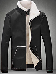 Men's Daily Going out Street chic Winter Fall Leather Jacket,Solid Stand Long Sleeves Regular PU