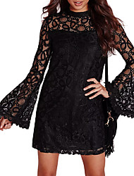 cheap -Women's Daily Club Vintage Sexy T Shirt Mini Dress,Patchwork Hollow-out Lace Backless Round Neck Long Sleeves Spring Fall