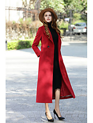 cheap -Women's Daily Work Simple Vintage Casual Street chic Winter Fall Coat,Solid Shirt Collar Long Sleeves Long Cashmere Wool Polyester Formal