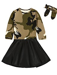 cheap -Girl's Daily Holiday Camouflage Dress,PU Cotton Spring, Fall, Winter, Summer Long Sleeves Street chic Army Green