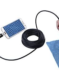 economico -2 in 1 usb endoscopio camera 7mm lente ip67 impermeabile ispezione periscopio camma del serpente per windows android 10m cavo nero