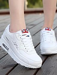 preiswerte -Damen Schuhe PU Alle Jahreszeiten Komfort Sportschuhe Walking Runde Zehe Für Sportlich Normal Weiß Schwarz Pink Rosa Elfenbein