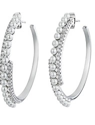 cheap -Women's Imitation Pearl Gold Plated Hoop Earrings - Simple / Fashion Silver Circle Earrings For Engagement / Formal