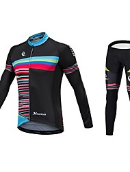 cheap -Malciklo Long Sleeve Cycling Jersey with Tights - Black Bike Clothing Suit, Quick Dry, Anatomic Design, Reflective Strips Lycra / Stretchy / High Elasticity