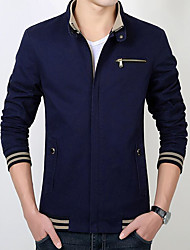 cheap -Men's Daily Simple Casual Winter Fall Regular Jacket, Solid Shirt Collar Polyester