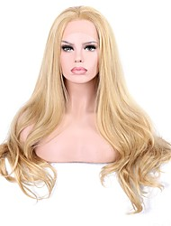 cheap -Synthetic Lace Front Wig Wavy Blonde With Baby Hair Synthetic Hair Blonde Wig Women's Long Lace Front