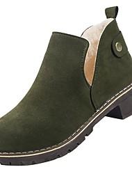 Недорогие -Для женщин Обувь Полиуретан Зима Армейские ботинки Ботинки На низком каблуке Круглый носок Ботинки Назначение Повседневные Черный