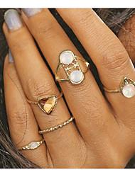 Недорогие -Жен. Кольцо на кончик пальца 5 Золотой Сплав Геометрической формы Винтаж Массивные украшения Повседневные Бижутерия