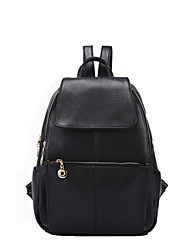 cheap -Women Bags Cowhide Backpack Pockets Zipper for Casual All Season Black