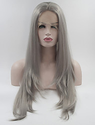 cheap -Women Synthetic Lace Front Wig Medium Length Long Natural Wave Grey Layered Haircut Natural Wigs Costume Wig