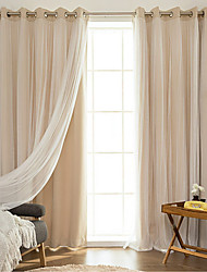 Grommet Top Double Pleat Pencil Pleat Curtain Modern , Printed Solid Living Room Polyester Blend Material Blackout Curtains Drapes Home