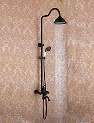 Antique Classic Style Wall Mounted High Quality Ceramic Valve Oil-rubbed Bronze , Shower Faucet