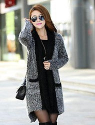 cheap -Women's Daily Long Cardigan,Solid V Neck Long Sleeves Mohair Winter Spring/Fall Medium Stretchy