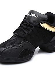 """economico -Da donna Sneakers da danza moderna A rete Tulle Finta pelle Sneaker All'aperto A fantasia Mezza punta Nero e Oro 1 """"- 1 3/4"""""""