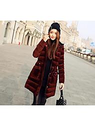 Dámské Dlouhé Dlouhý kabát Jednoduchý Denní nošení Jednobarevné-Kabát Polyester Dlouhý rukáv