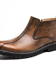 baratos -Homens sapatos Courino Couro Primavera Outono Conforto Botas Caminhada para Casual Preto Marron