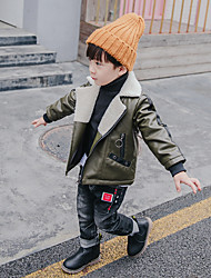 Недорогие -Мальчики Блуза Синтетическая кожа Однотонный Зима Длинный рукав Очаровательный Зеленый Черный