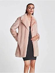 Women's Casual/Daily Simple Fall Winter Fur Coat,Solid Peter Pan Collar Long Sleeves Long Rex Rabbit Fur