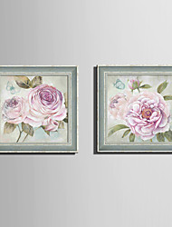 cheap -Botanical Floral/Botanical Vintage Framed Canvas Framed Set Wall Art,PVC Material With Frame For Home Decoration Frame Art Living Room