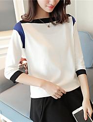 Standard Pullover Da donna-Casual Semplice Monocolore Rotonda Mezza manica Cotone Autunno Medio spessore Media elasticità