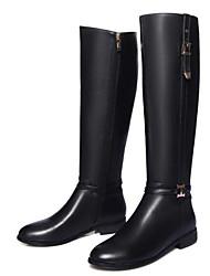 preiswerte -Damen Schuhe Leder Herbst Winter Komfort Modische Stiefel Stiefel Für Normal Schwarz